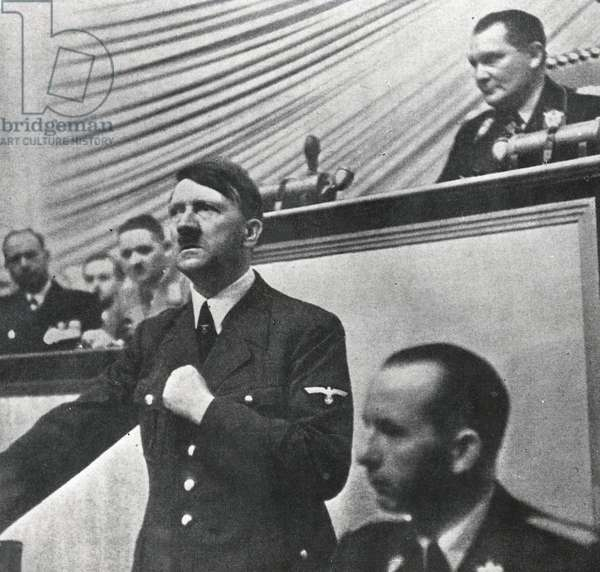 Chancellor Adolf Hitler during his speech to the Reichstag announcing the invasion of Poland, 1st September 1939 (b/w photo)