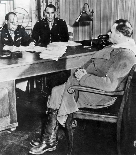 Rudolf Hess is interrogated by John Amen during the Nuremberg trial, 1945 (b/w photo)