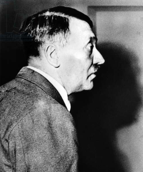 Adolf Hitler after the failed assassination attempt of July 20, 1944 (b/w photo)