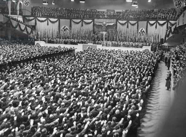 Joseph Goebbels speaks in the Sportpalast in Berlin, 1943