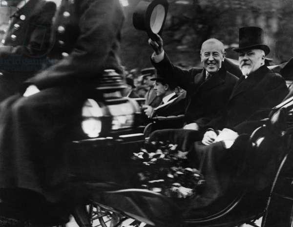 Woodrow Wilson and Raymond Poincare, 1918 (b/w photo)