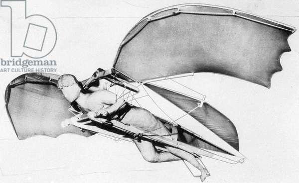 Flying machine according to designs of Leonardo da Vinci
