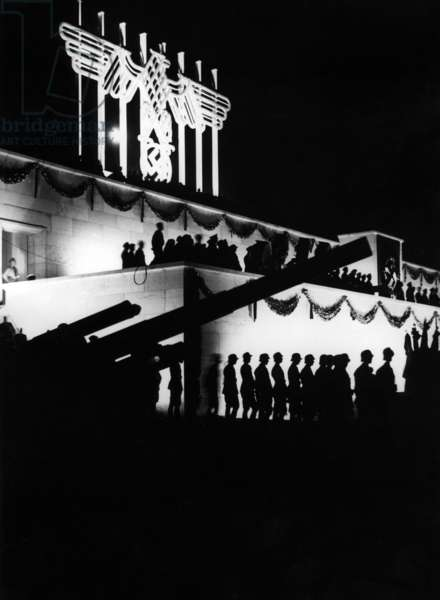 Zeppelin grandstand during grand tattoo at the Nuremberg Rally, 1935 (b/w photo)