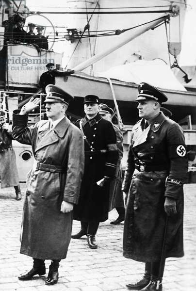 Adolf Hitler and the leader of the Memel Germans Neumann Memel, 1939 (b/w photo)