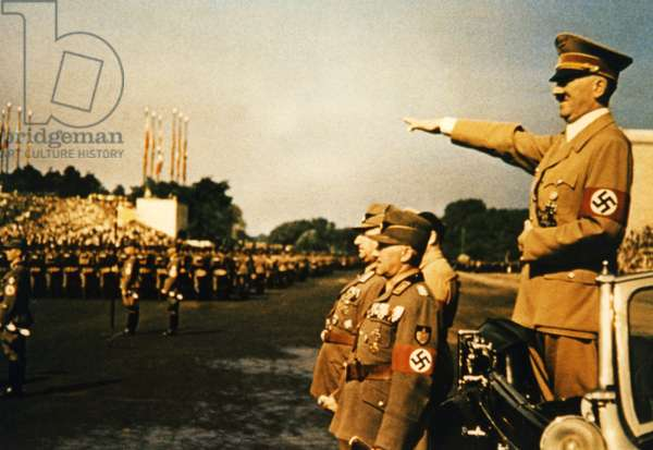 Adolf Hitler attends a parade on the Zeppelin field