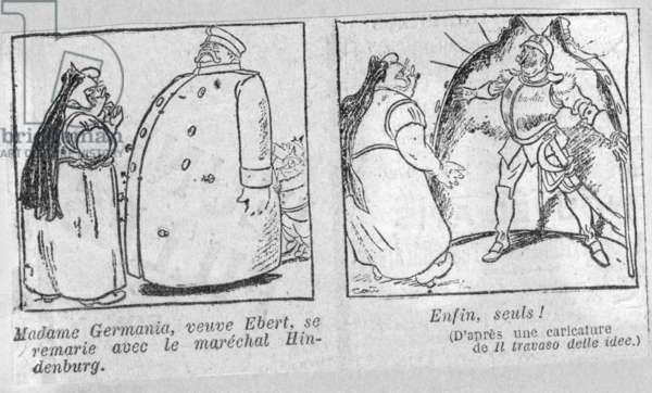 """Caricature in the French newspaper """"Le Journal"""" on the Reich presidential election, April 1925 (print)"""