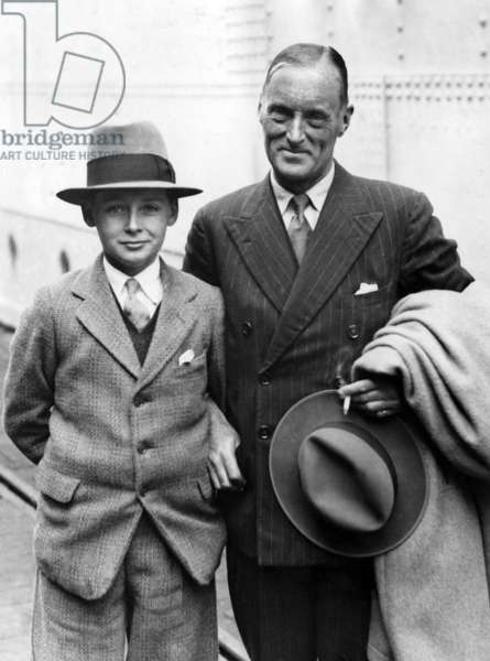 Sir Malcolm Campbell with his son Donald Campbell in England, 1934 (b/w photo)