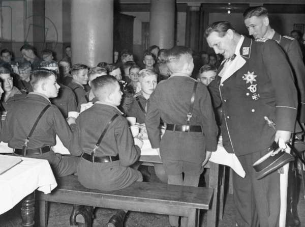 Hermann Göring visits a military orpahange in Potsdam, 1939 (b/w photo)