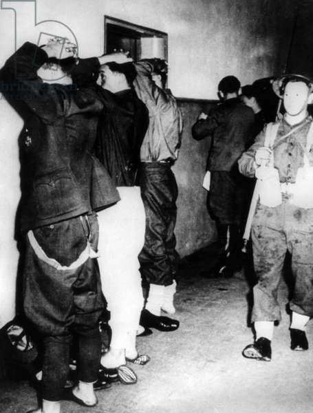 German soldiers at Muerwik, following the surrender of the government of Karl Doenitz, 1945 (b/w photo)