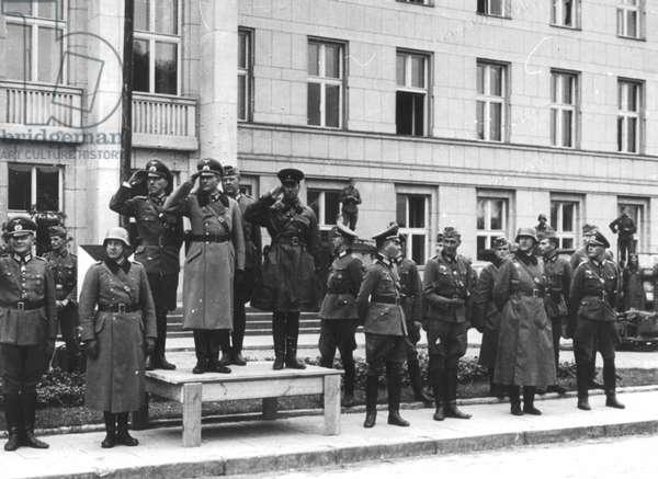 German Army Lieutenant General Heinz Guderian and Russian Army Brigadier General Semyon Kriwoschin in Brest-Litovsk, Poland, 22 September 1939 (b/w photo)