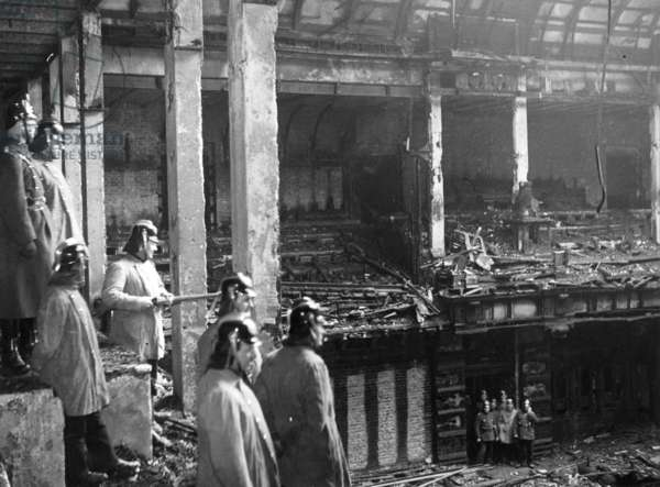 Firefighters in the burned out Reichstag, 1933 (b/w photo)