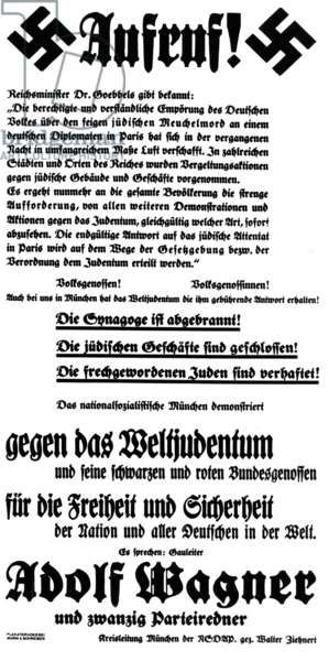 Anti-semitic poster calling for public calm after Kristallnacht and announcing the speech of Gauleiter Adolf Wagner, Munich, Bavaria, 10th November 1938 (litho) (b/w photo)