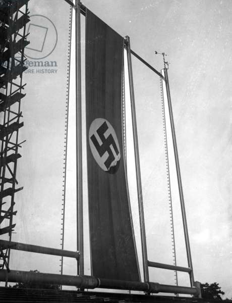Swastika flag on the Nazi Party Rally Grounds in Nuremberg, 1936 (b/w photo)