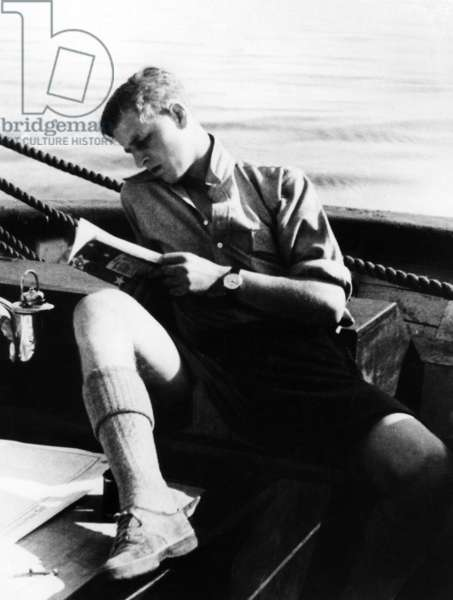 Philip on a school boat, ca. 1934 (b/w photo)