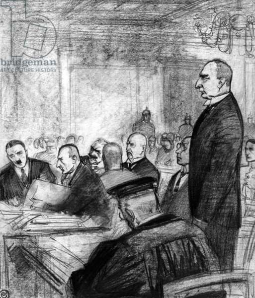 Drawing showing the Hitler trial in Munich, 1924