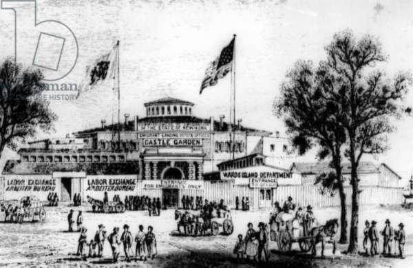 Castle Garden in New York, c.1870 (b/w photo)