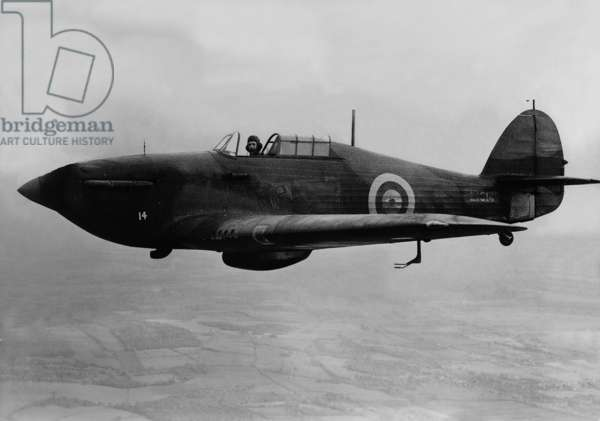 British Hawker 'Hurricane' Fighter Plane, 1938 (b/w photo)