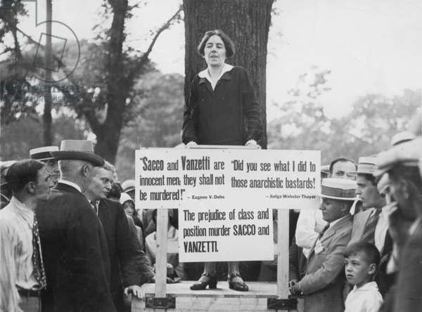 Mary Donovan protests against the execution of Sacco and Vanzetti, 1927 (b/w photo)