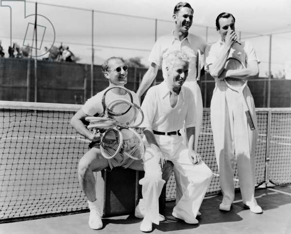 Groucho Marx, Charles Chaplin, Ellsworth Vines and Fred Perry, 1937 (b/w photo)
