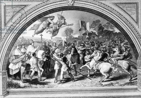 The Meeting of Leo the Great and Attila painting by Raphael, 1514 (b/w photo)