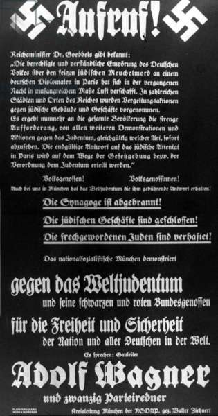"Appeal to the German population after the ""Reichskristallnacht"" (Night of Broken Glass"", 1938 (b/w photo)"