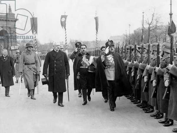 Paul von Hindenburg and King Amanullah Khan in Berlin, 1928 (b/w photo)