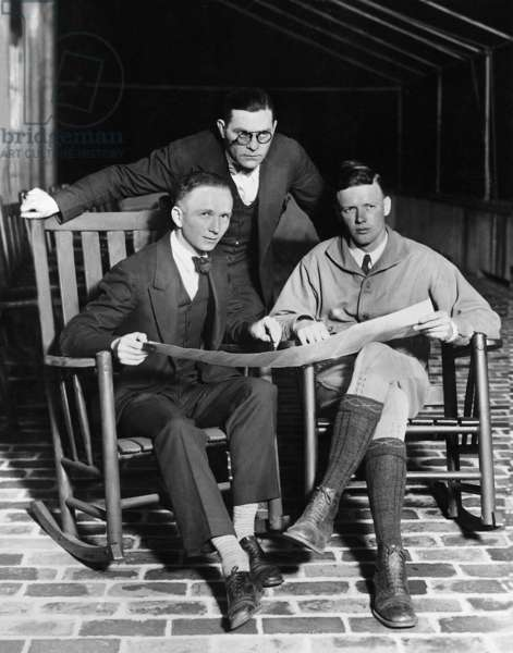 Clarence Chamberlin, Lieutenant Neville and Charles Lindbergh, 1927 (b/w photo)