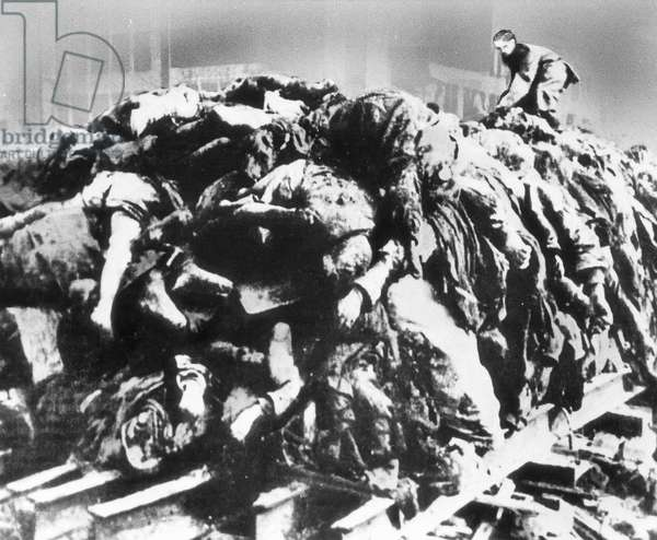 A pile of bodies before cremation in Dresden, 1945 (b/w photo)