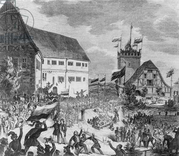 Students with black-red-gold flags at the Wartburg festival, to which the Jena fraternity has invited all German students, 1817 (litho)