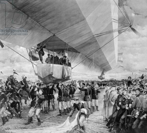 Landing of the zeppelin LZ1 in Munich, 1900 (b/w photo)