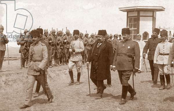 Turkish War Minister Ismail Enver (left) with Foreign Minister Halit-Bei and Interior Minister Talgat-Bei at the opening of trenches in Istanbul during WWI, 4th September 1916 (b/w photo)