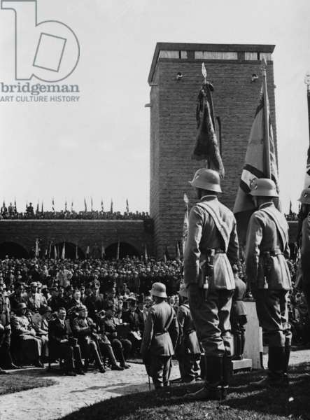 Adolf Hitler and Paul von Hindenburg at the inauguration of the Tannenberg Memorial, 1933 (b/w photo)