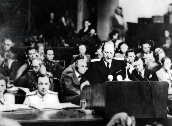 Roman Andriyovych Rudenko during the Nuremberg Trial, 1945