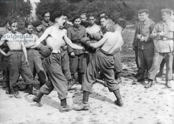 French volunteers under German leadership when boxing, 1944 (b/w photo)
