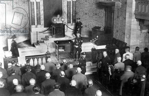 """The """"Kristallnacht"""" in Baden-Baden, 1938 (b/w photo)"""
