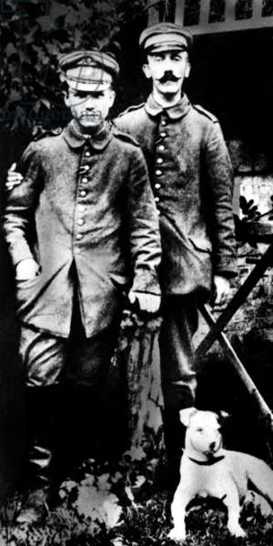 Adolf Hitler as a soldier in World War I (b/w photo)