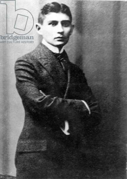 Portrait of the Austrian writer Franz Kafka (1883-1924) (b/w photo)