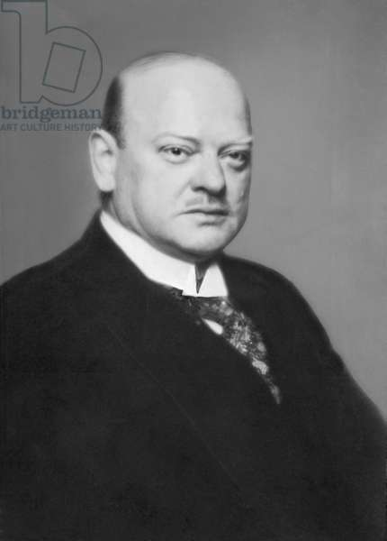 Portrait of Gustav Stresemann, politician and Chancellor in the Weimar Republic, 1928 (b/w photo)