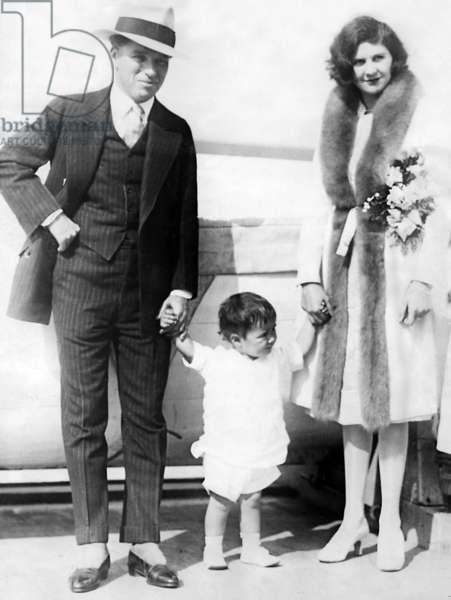 Charlie Chaplin with his wife Lita Grey, 1925 (b/w photo)