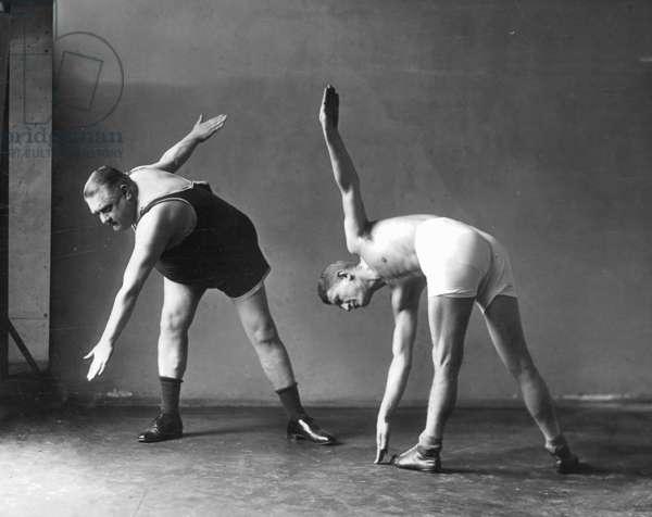Two men at the gymnastics, 1926 (b/w photo)