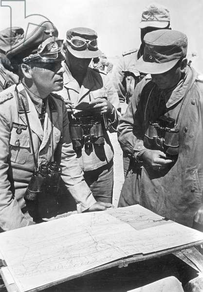 Erwin Rommel with officers at a meeting, 1942 (b/w photo)