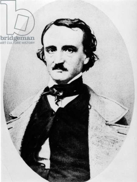 Edgar Allan Poe, American writer (1809-1849) (b/w photo)