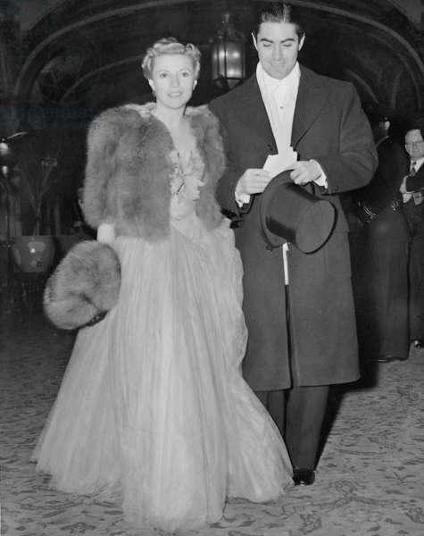Annabella and Tyrone Power, 1939 (b/w photo)