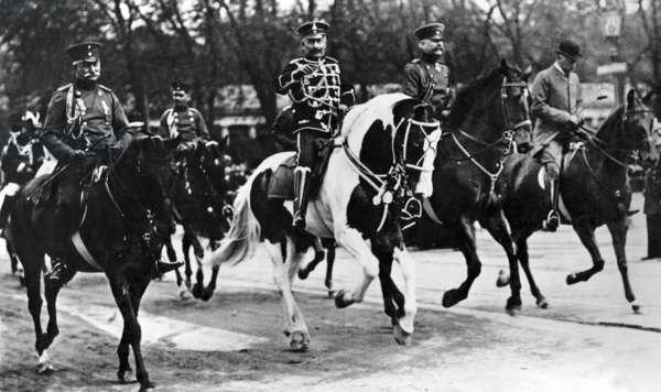 Emperor Wilhelm II at a trot in Berlin, around 1910