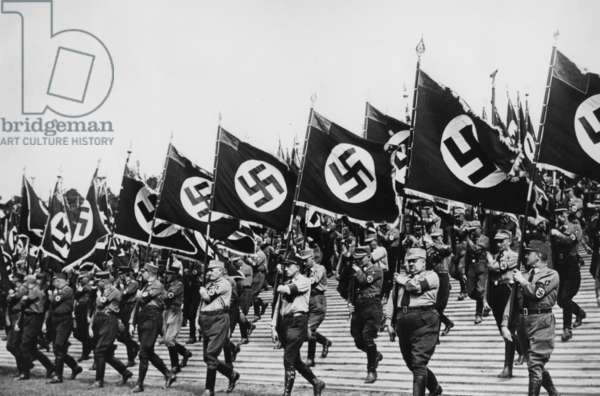 Parade of the SA at the Nuremberg Rally in 1936 (b/w photo)