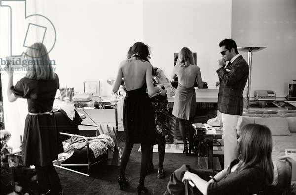 Karl Lagerfeld in his office at Maison Chloe, 1972