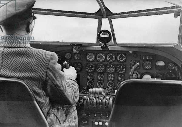 Pilot in the cockpit of a Few 200 'Condor' by Focke-Wulf, 1937 (b/w photo)