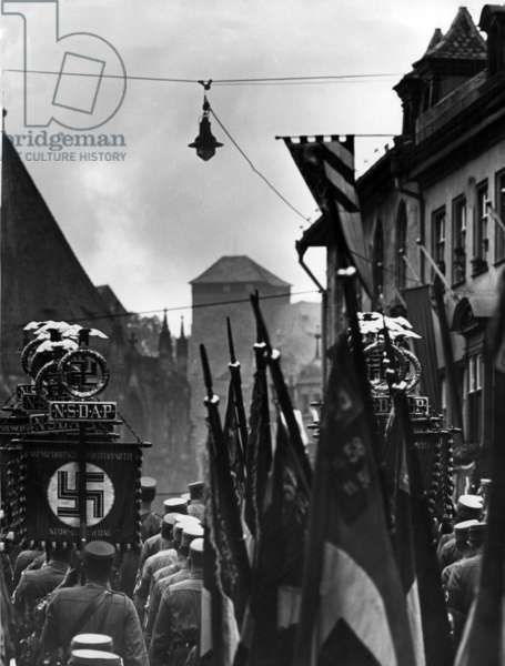 Parade of the SA at the Nuremberg Rally, 1938 (b/w photo)