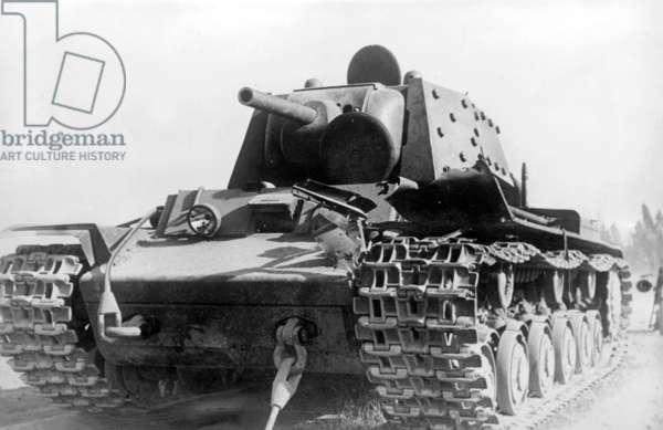 Shot up KW 1 Russian tank, 1941 (b/w photo)