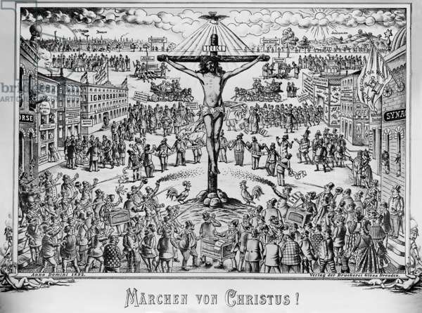 "Anti-Semitic illustration from the ""Politischen Bilderbogen"" titled ""The Fairy tale of Christ!"", Dresden, 1896 (lithograph)"